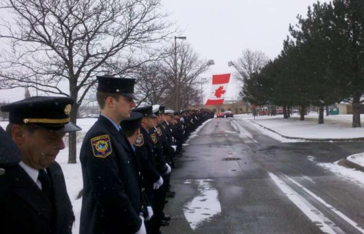 Photo from firefighter Darrell Ellwood's funeral.