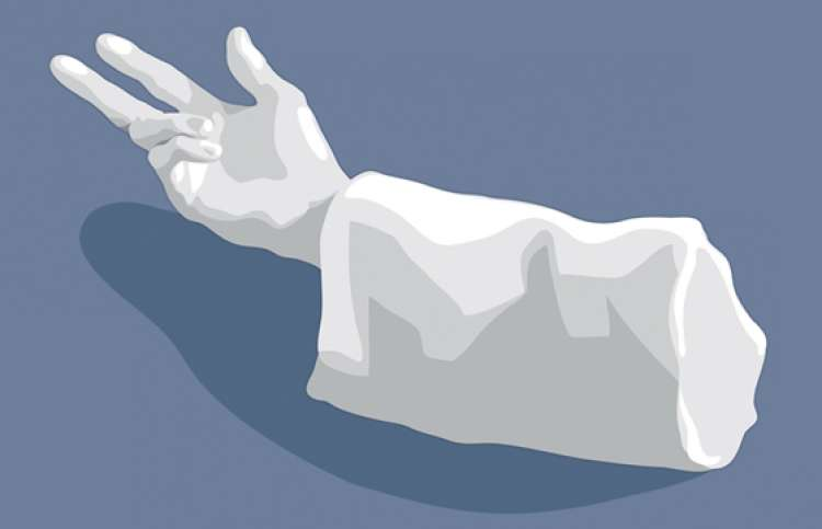 An artist's rendering of the statue's detached hand