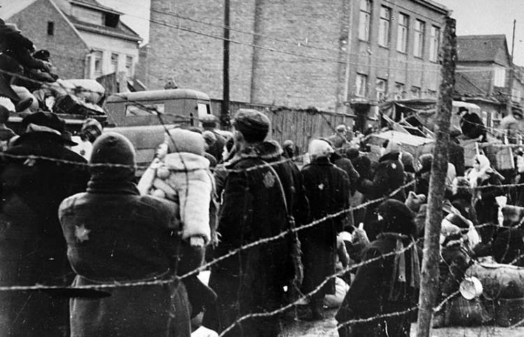 Jews in the Kovno ghetto who have been assembled for deportation
