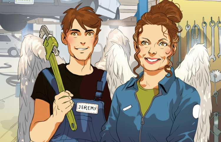 An artist's rendering of a mechanic and greeter, both with angel wings