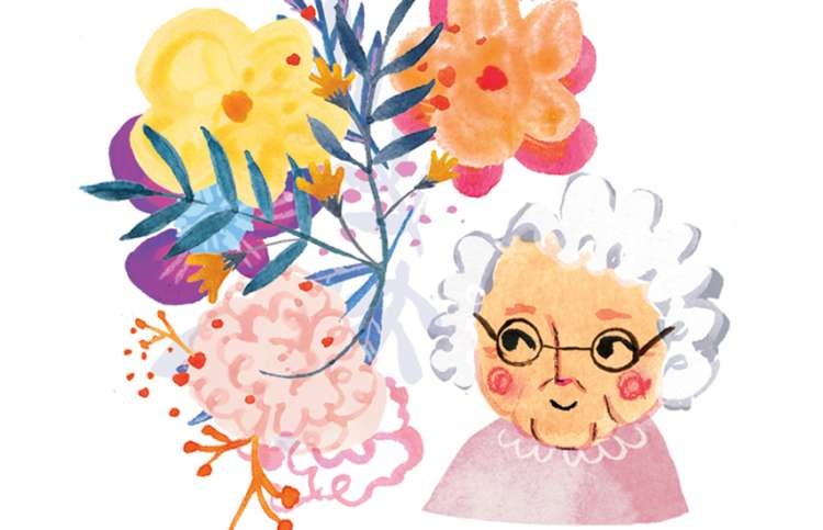 Inspiring illustration depicting a smiling senior with a bouquet of flowers