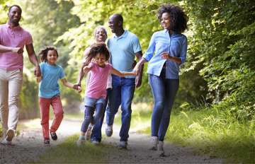 family taking a walk, exercising moderately
