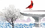 An artist's rendering of a cardinal perched on a snow-covered birdbath