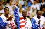 Dream Team members Scottie Pippen, Michael Jordan and Clyde Drexler