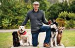 Matt Beisner and his four dogs