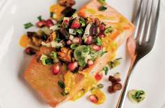Roasted Ginger Salmon with Pomegranite Olive Mint Salsa
