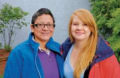 Guideposts: Fallon (right) and Ali, an Air Force veteran she met at a Volunteers of America shelter, where Fallon's a case manager