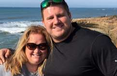 Joanna Kovacs and her son, Joe, near the beach at Chula Vista, California, where Joe trained for the Olympic Trials