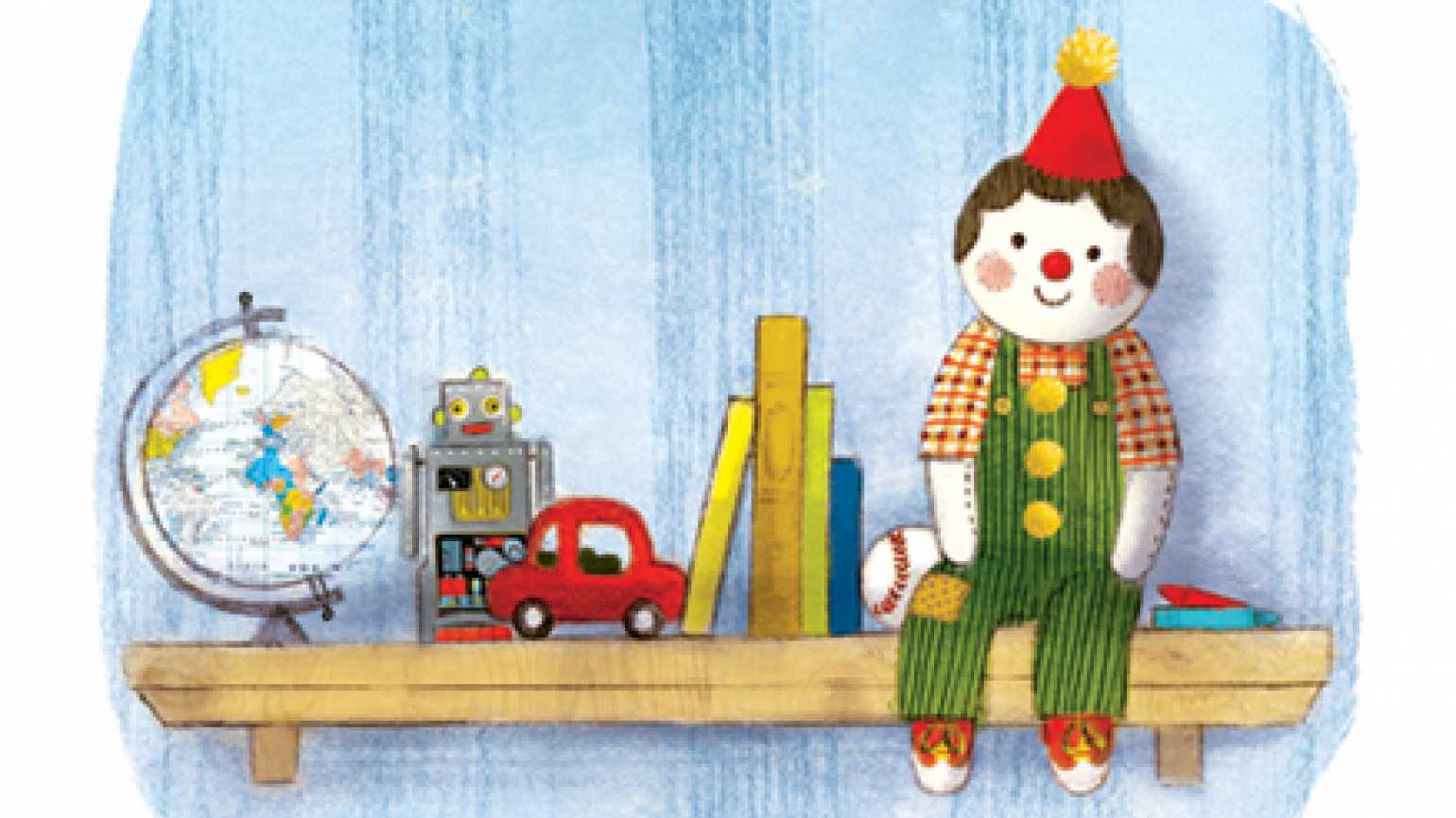 An artist's rendering of Big Jon, on a shelf with other toys