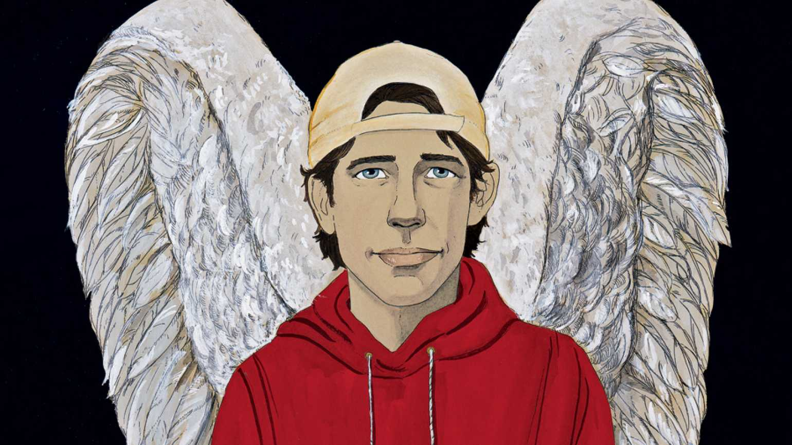 An artist's rendering of a teenager with angel wings and a red hoodie