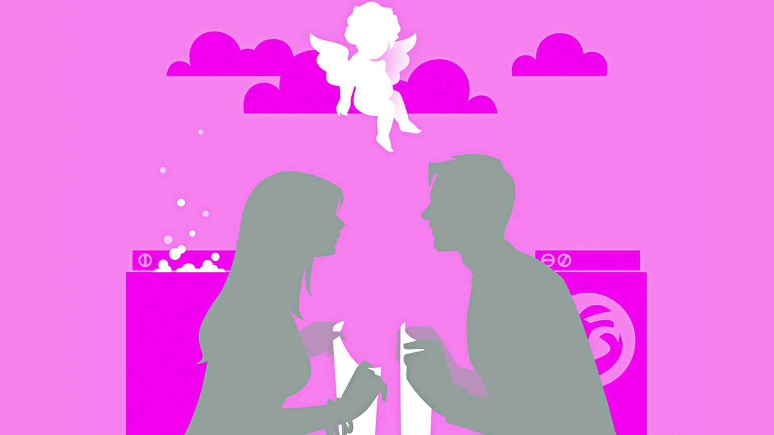 A color block silhouette of a couple holding an article of clothing in a laundromat with Cupid hovering above.