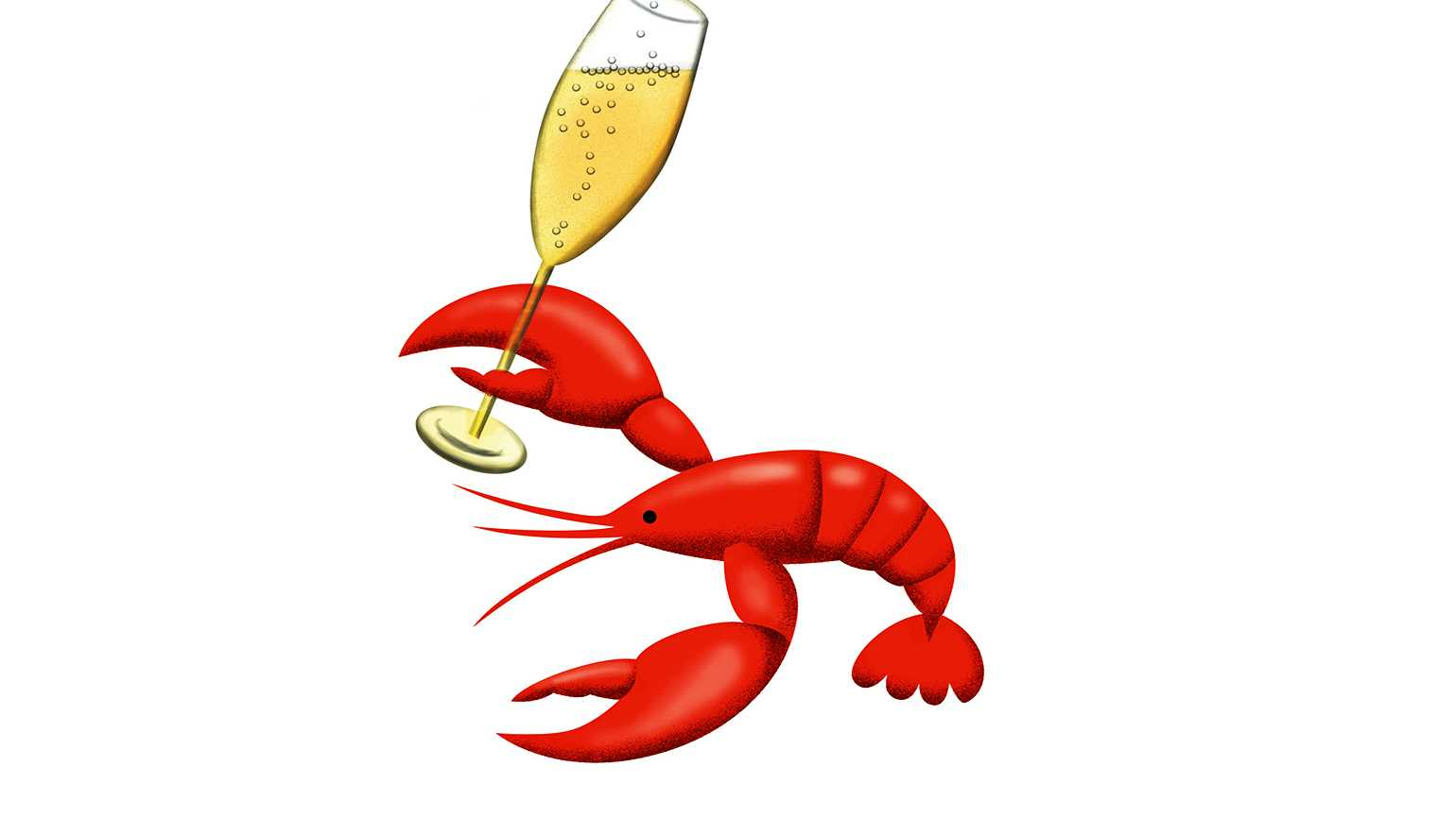 An illustration of a lobster holding a flute of bubbly champagne.