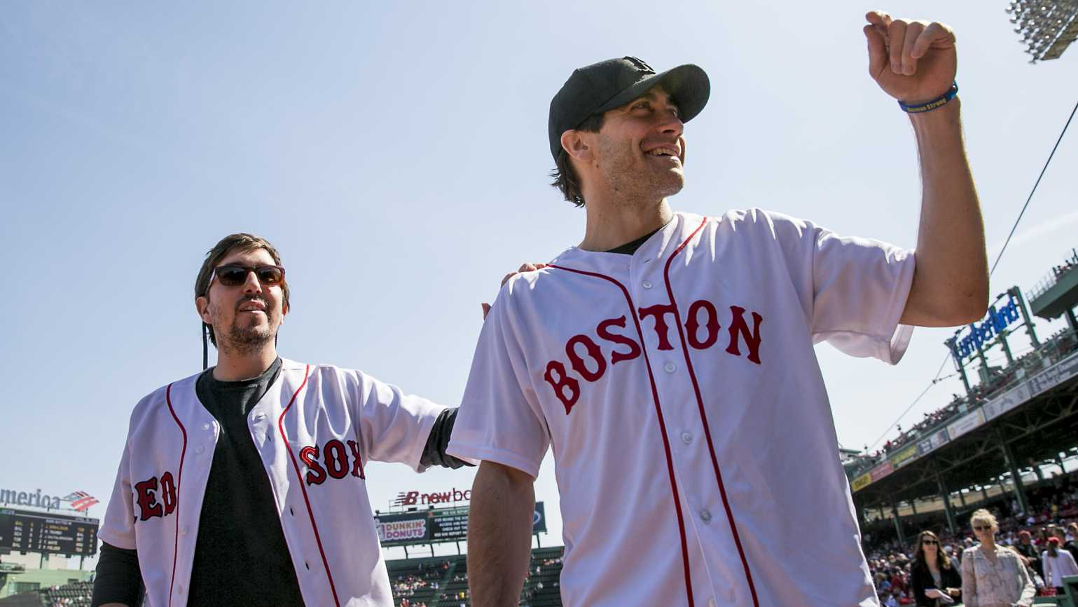 Jeff Bauman with Jake Gyllenhaal at a Boston Red Sox game