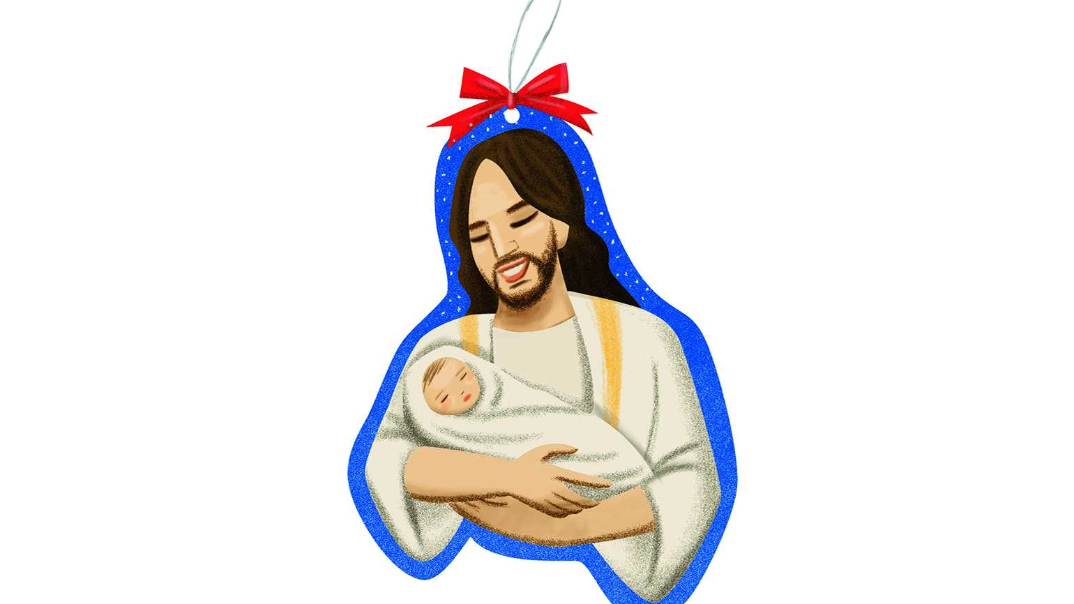The Christmas ornament depicting Jesus cradling a newborn baby in his arms.
