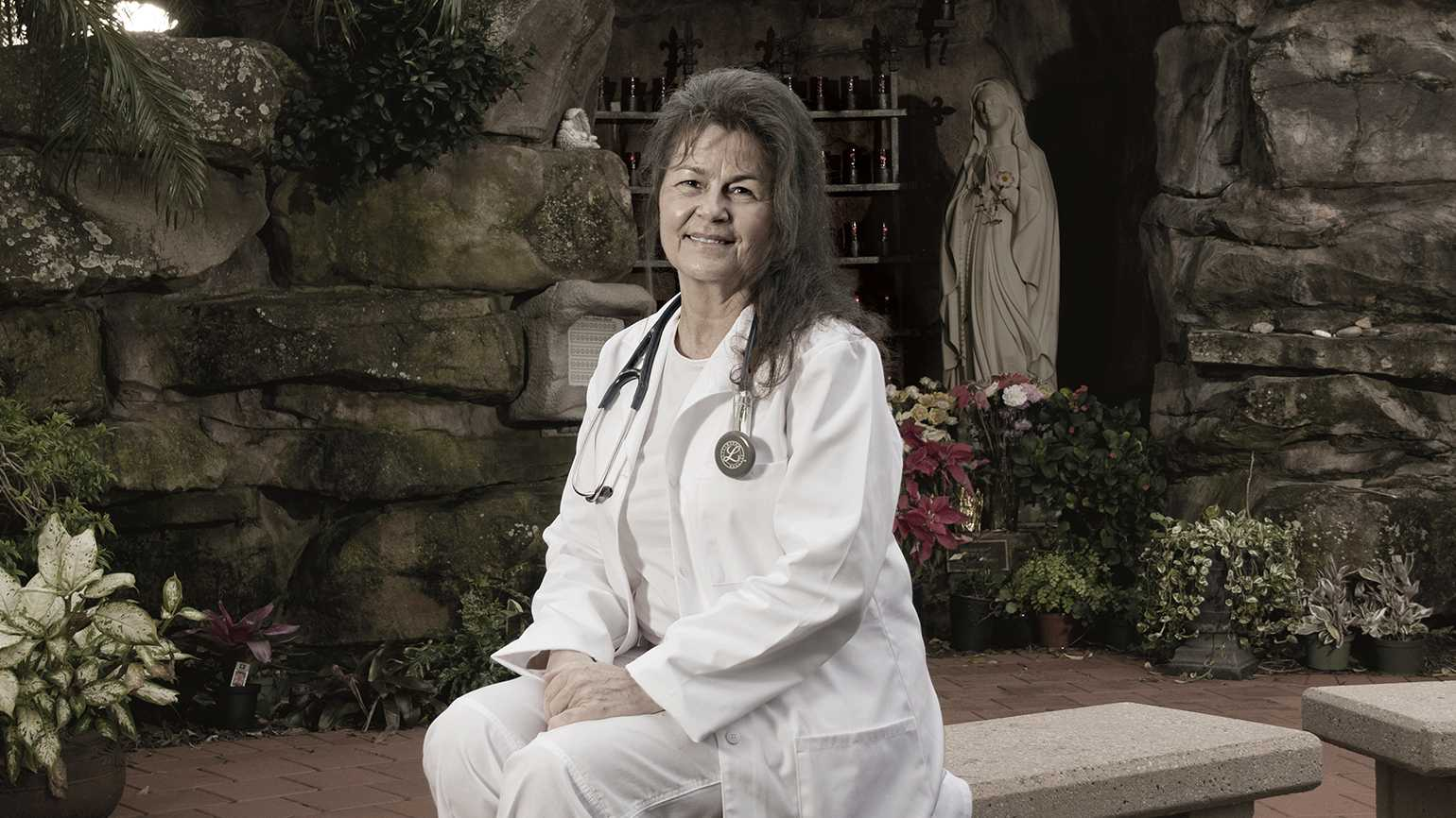 Janice visits this meditation garden before or after her shifts.
