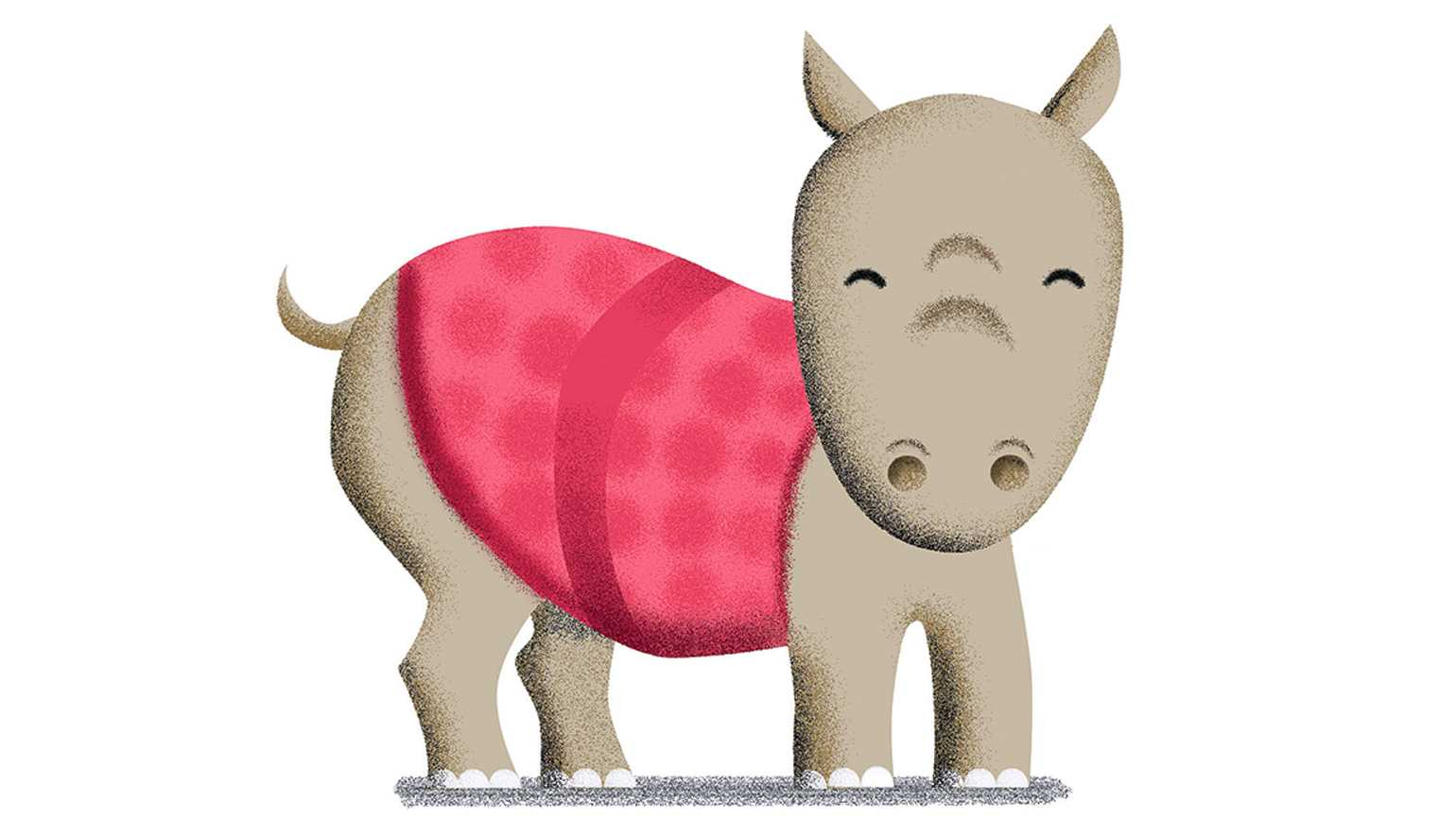 An illustration depicting a happy rhinoceros in a pink blanket.