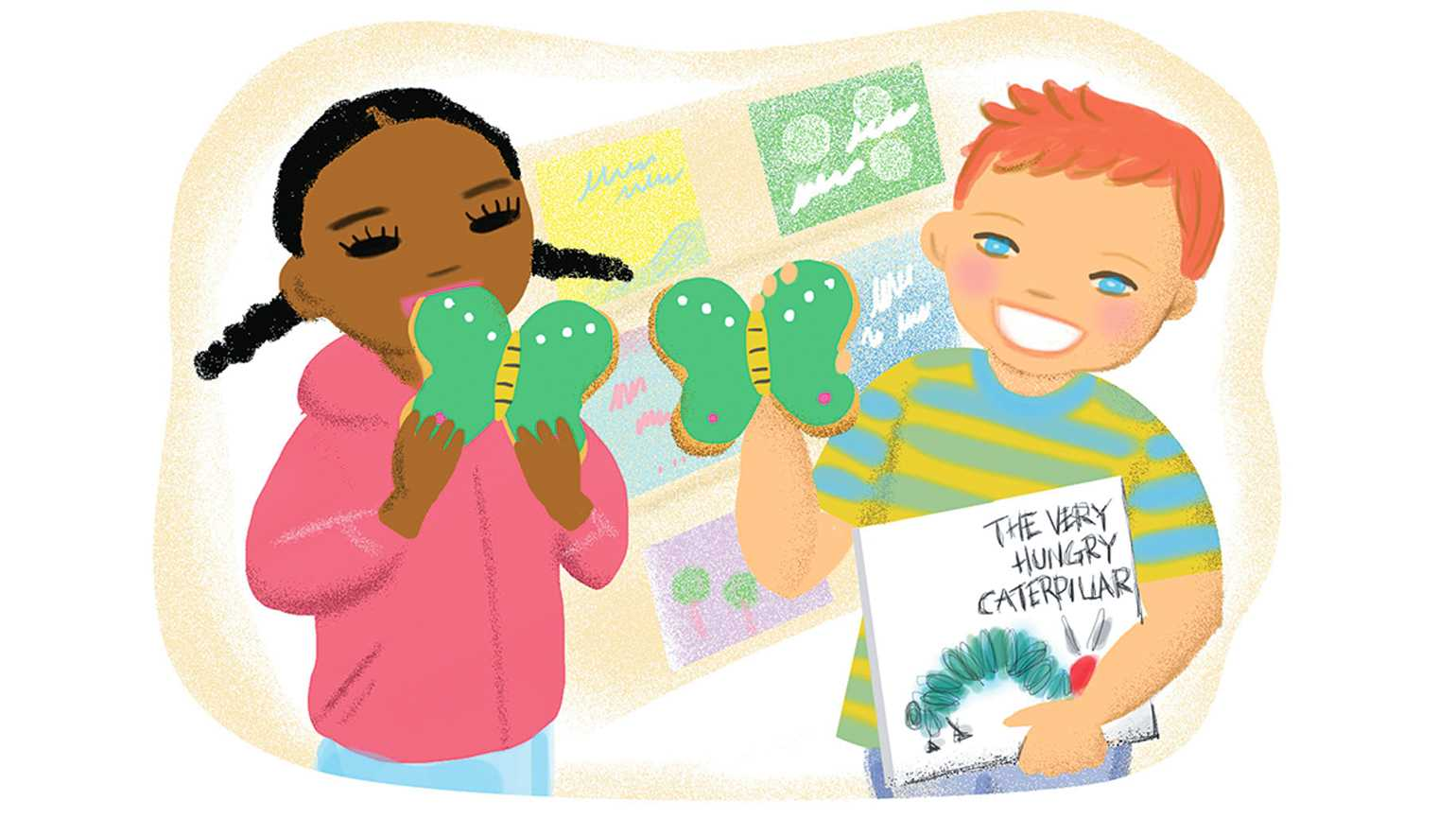 An illustration depicting two kindergarteners enjoying butterfly shaped cookies.