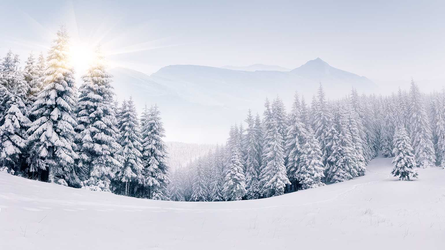 A snow-covered mountain scene