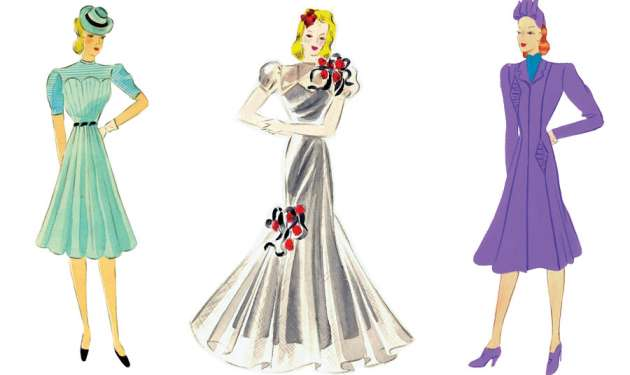 Three of Hedwig Strnad's dress designs from the 1930s