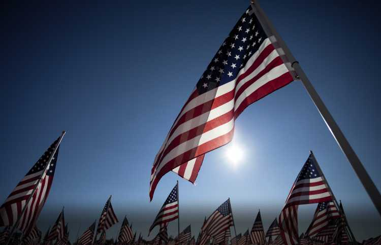 American Flags fly on Memorial Day