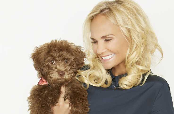 Kristin Chenoweth with her new rescue dog, Thunder