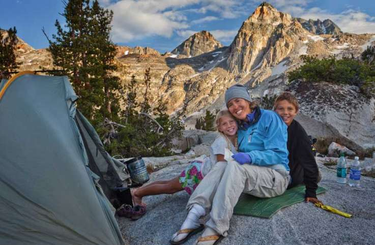 Julie, Rebekah and Cade spend some quality time together along the John Muir Trail