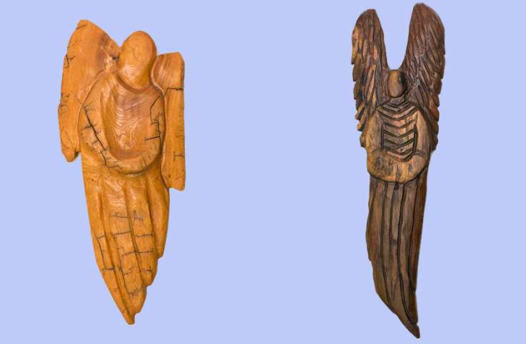 Guideposts: A pair of angels, carved by Paula Dimit
