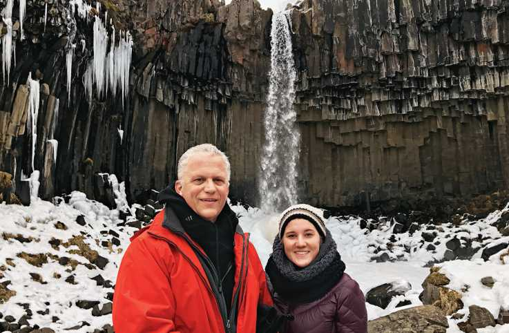Alikay Wood and her father during their sojourn in Iceland