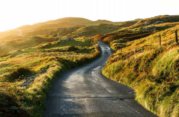 A winding road in the Irish countryside