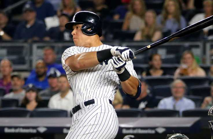 Aaron Judge singles in the first inning of a game at Yankee Stadium in September 2016
