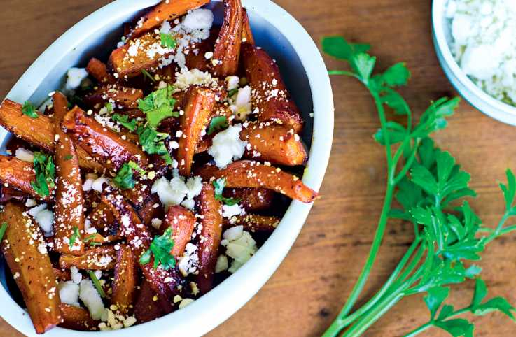 Candied Carrots with Crumbled Feta Cheese