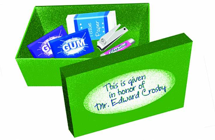 Dr. Edward Crosby's green care package containing gum, tissues, nail clippers, and lip balm.