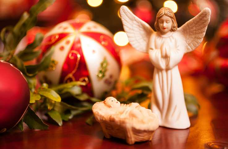 An angel and the Baby Jesus from a Nativity set