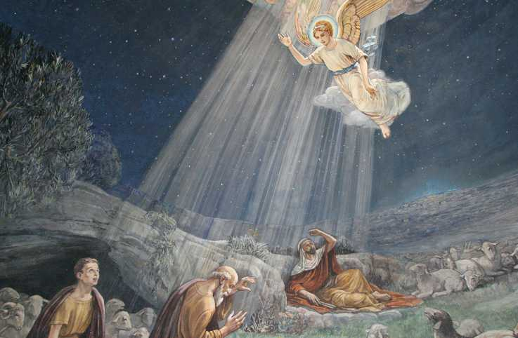 Angel of the Lord visited the shepherds and informed them of Jesus' birth, fresco in the Shepherds' Fields Church, Bethlehem, Israel