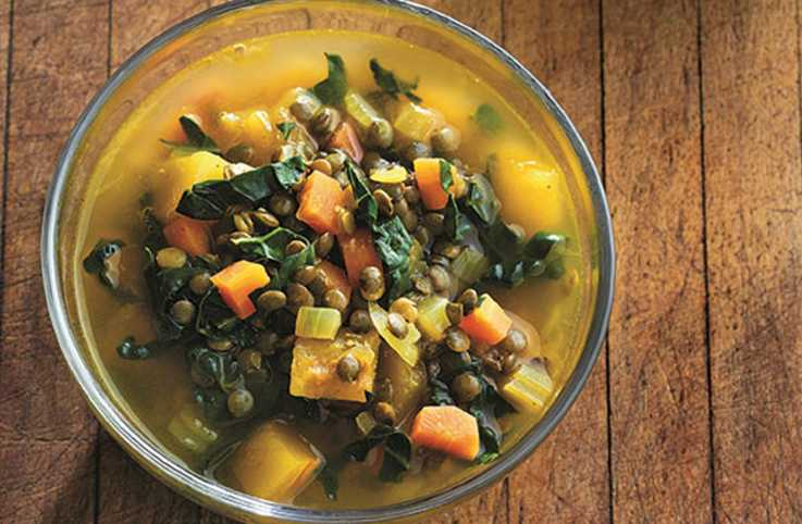 Cozy Lentil Soup with Delicata Squash
