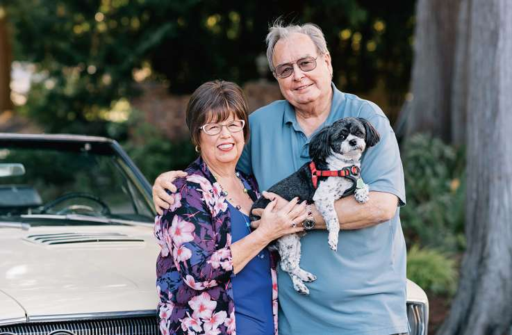Debbie Macomber with her husband, Wayne, and dog, Bogie