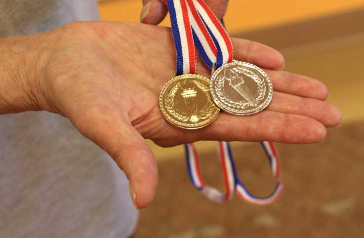 Sharon's medals from Good Samaritan Society – Bonell Community's Senior Olympics.