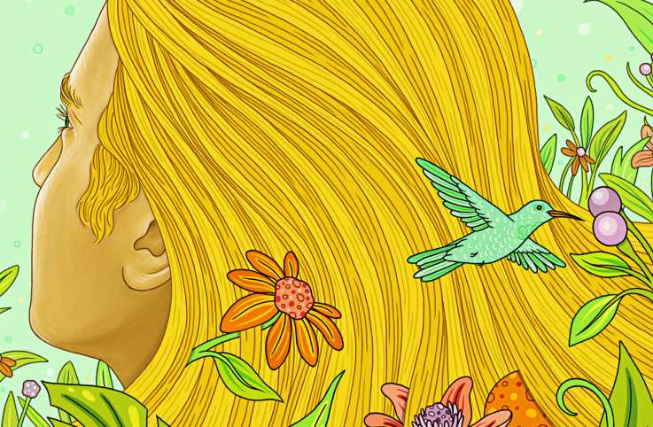 An artist's rendering of nature intwined with a woman's long flowing blonde hair.