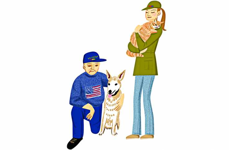 A male veteran kneeling down and embracing a dog while a female veteran stands up and holds a cat in her arms.