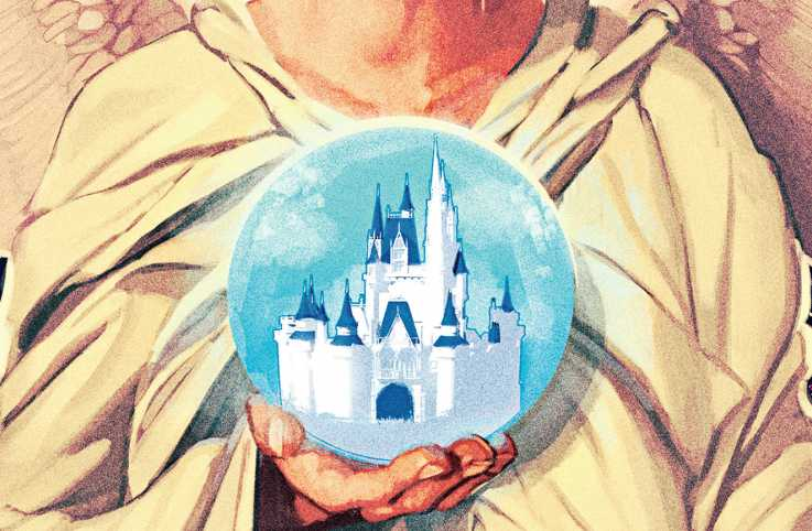 An artist's rendering of an angel holding a Disney World snow globe