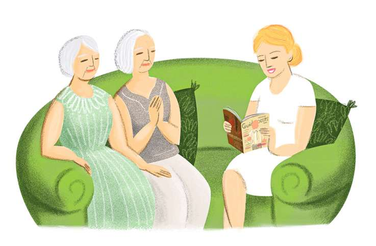 An artist's rendering of a three women on a couch, one reading aloud to the other two