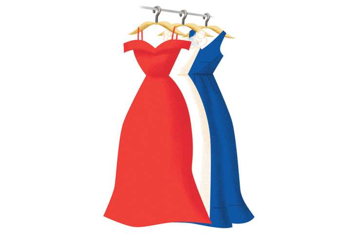 An artist's rendering of a trio of formal gowns--one red, one white and one blue