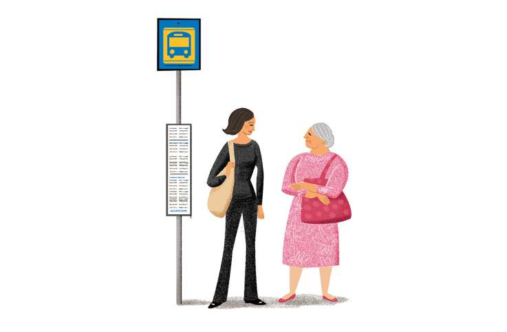 An artist's rendering of a young woman and a senior citizen chatting at a bus stop