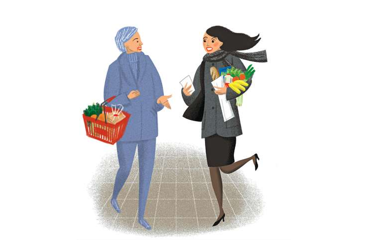 An artist's rendering of a mature woman allowing a young woman in a hurry to go ahead of her at the grocery checkout
