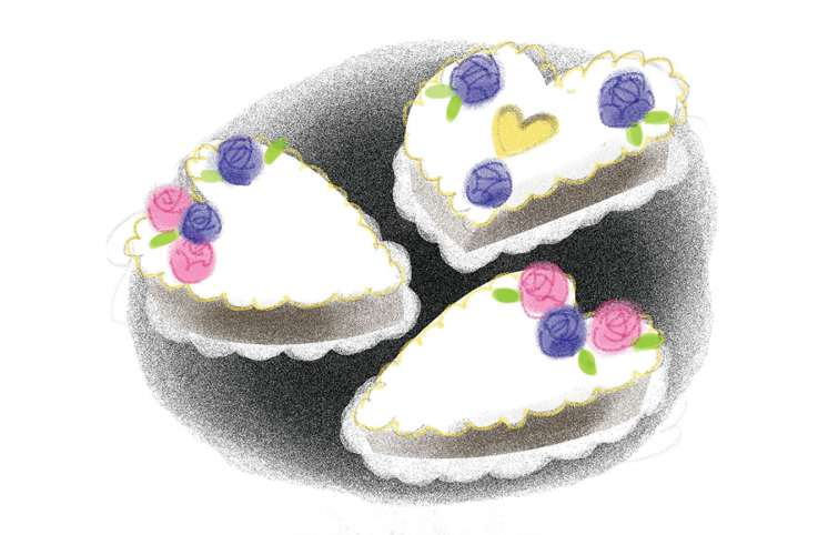 An artist's rendering of Shirley's heart-shaped cakes