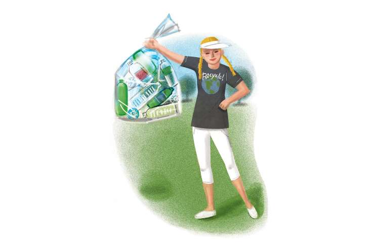 An artist's rendering of a woman holding up a bag full of recycling