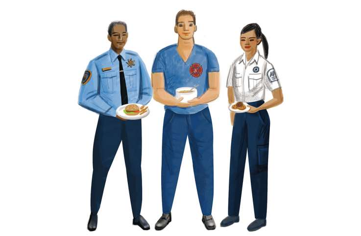 An artist's rendering of a trio of first-responders enjoying a potluck meal
