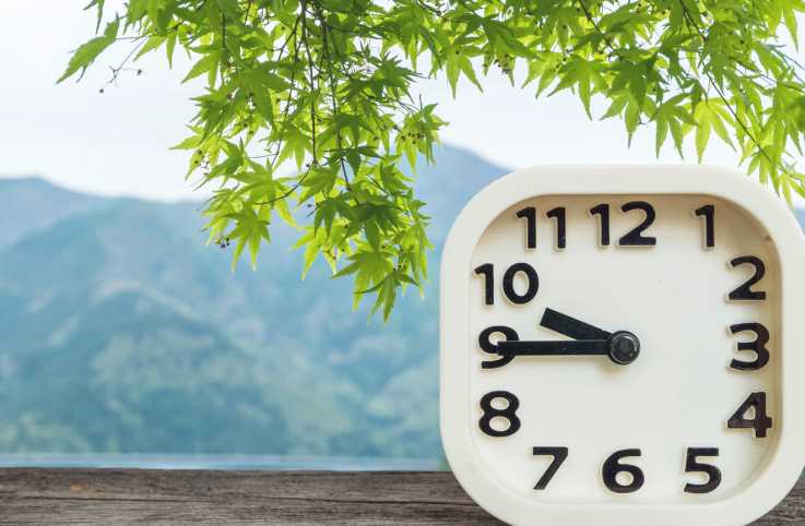 A white clock indicating the time against a nature background.