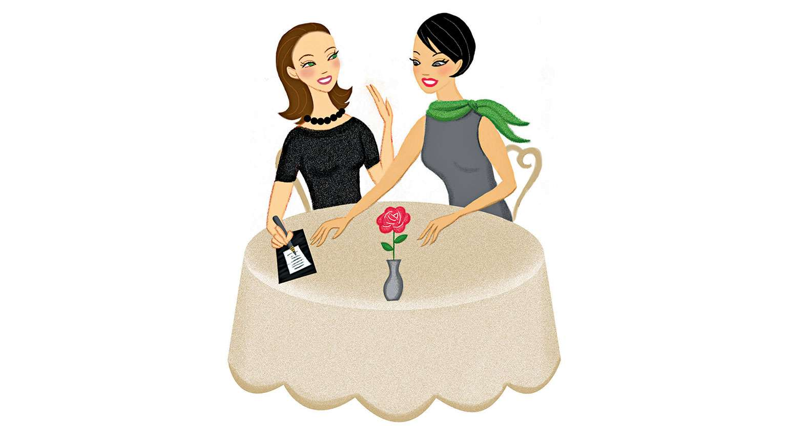 An artist's rendering of two women out for dinner