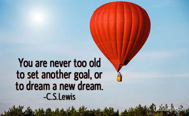 You are never too old to set another goal, or to dream a new dream.—C.S. Lewis